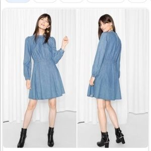 & other story's waisted denim dress